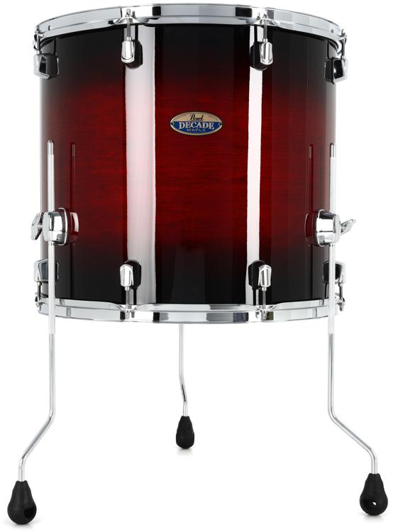 pearl decade maple floor tom 16 x 18 redburst sweetwater. Black Bedroom Furniture Sets. Home Design Ideas
