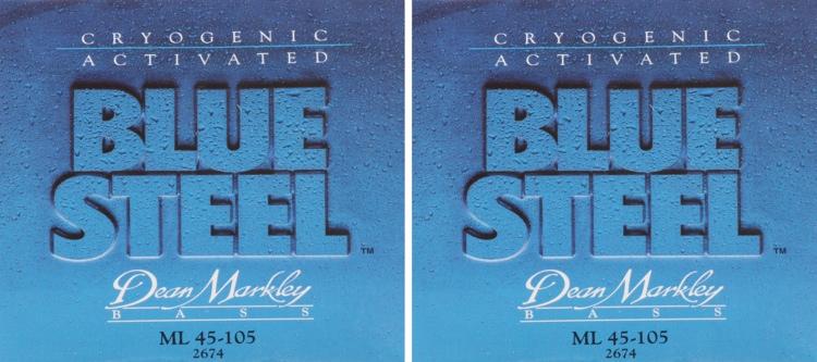 Dean Markley 2674 Blue Steel Bass Guitar Strings - .045-.105 - 2 Pack image 1