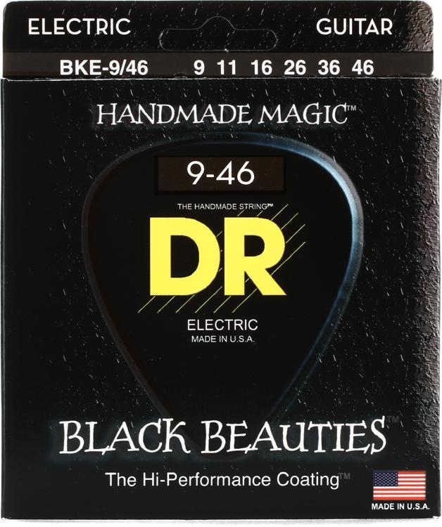 DR Strings BKE-9/46 Black Beauties K3 Coated Lite and Heavy Electric Guitar Strings image 1