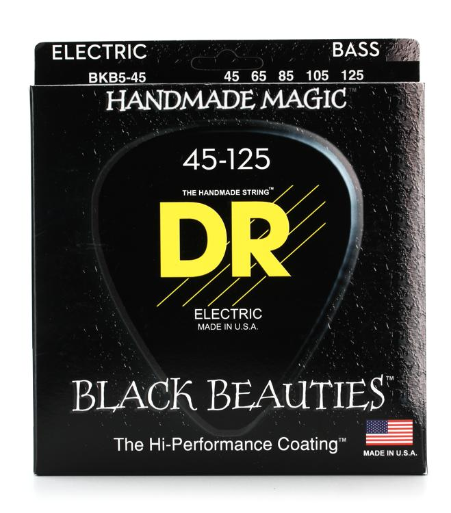 DR Strings BKB5-45 Black Beauties Coated Steel Medium 5-String Bass Strings image 1