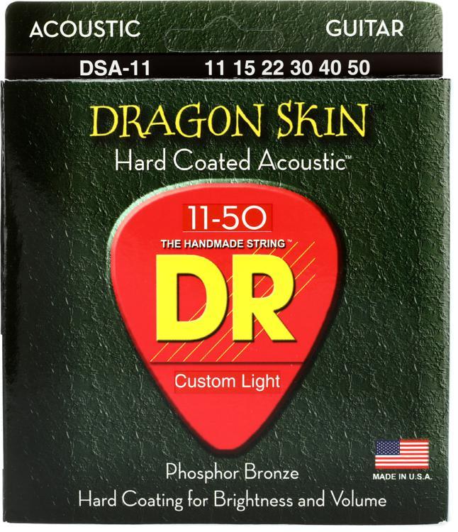 DR Strings DSA-11 Dragon-Skin Phosphor Bronze Medium Lite Coated Acoustic Strings image 1