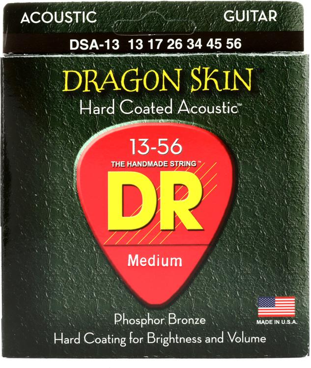 DR Strings DSA-13 Dragon-Skin Phosphor Bronze Medium Heavy Coated Acoustic Strings image 1