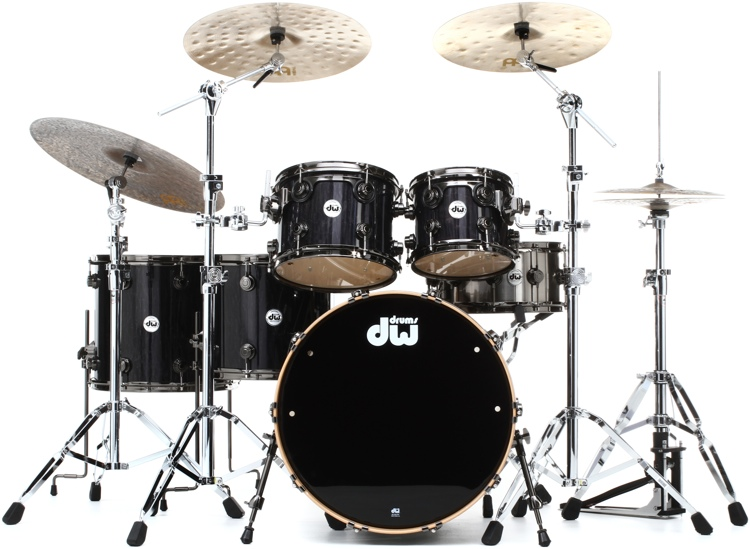 DW Collector\'s Series Exotic Maple Shell Pack - 5-pc Ebony Lacquer over Quilted Maple image 1