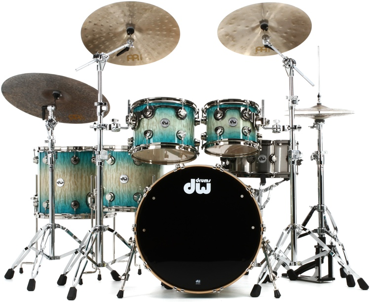DW Collector\'s Series Exotic Maple Shell Pack - 5-pc, Quick Regal Blue Burst over Quilted Maple image 1