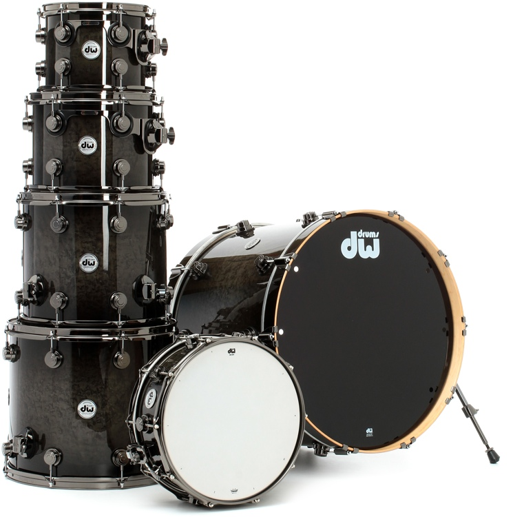 DW Collector\'s Series Exotic 6-Piece Kit - Birds Eye Maple in Grey Stain and Candy Black Burst image 1