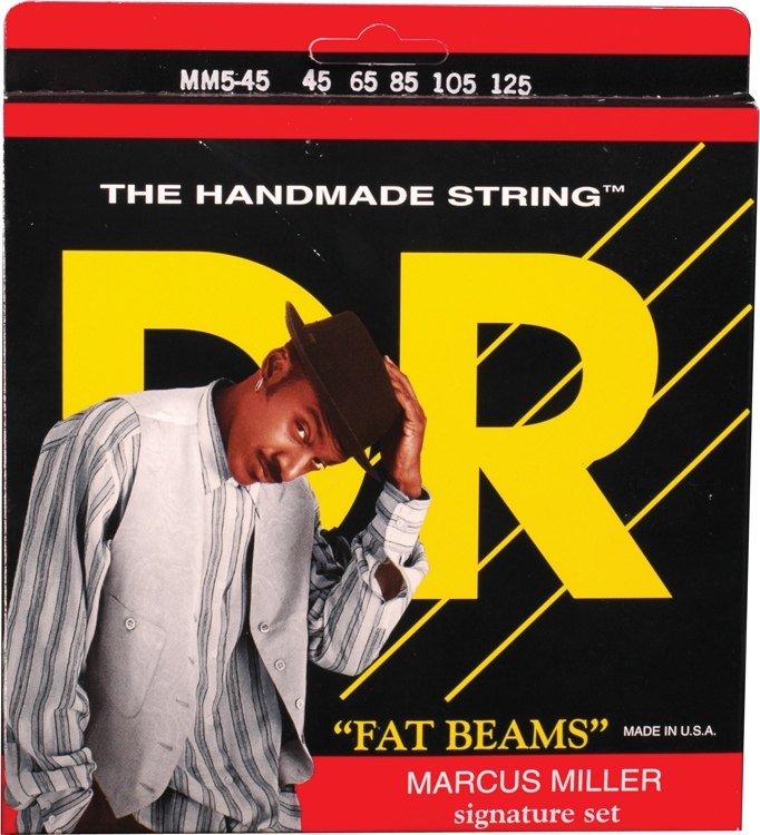 DR Strings MM5-45 Fat Beams Stainless Steel Medium 5-String Marcus Miller Bass Strings image 1