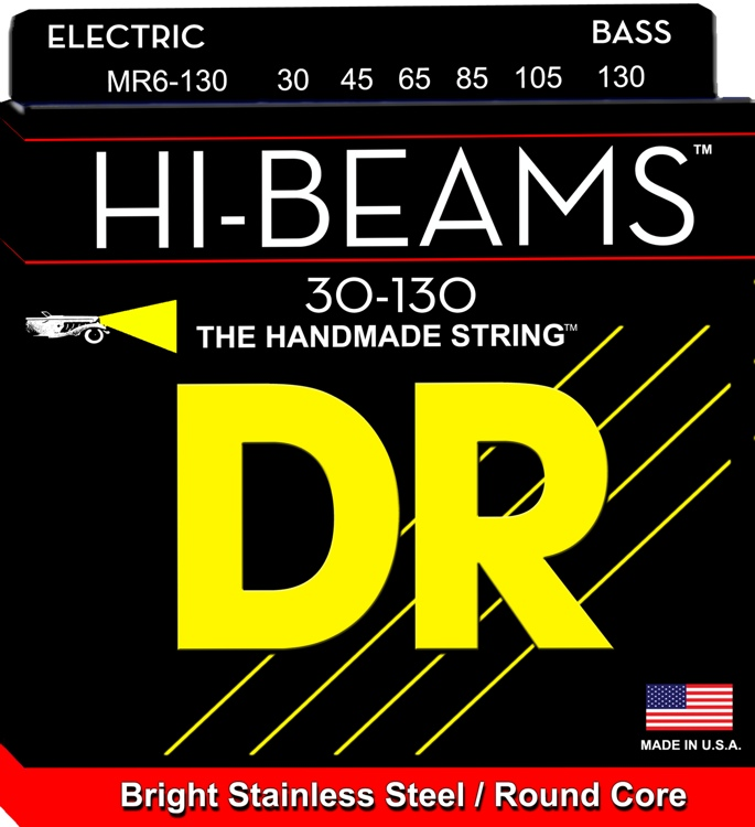 DR Strings MR6-130 Hi-Beam Stainless Steel Medium 6-String Bass Strings image 1