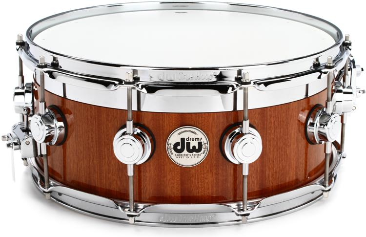DW Collector\'s Maple/Mahogany Top Edge Snare Drum - 6x14 - Natural Mahogany Lacquer image 1