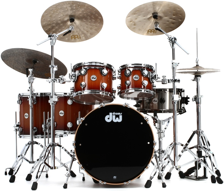 DW Collector\'s Series Lacquer Cherry/ Mahogany Shell Pack - 5-pc - Natural to Rich Red Burst image 1