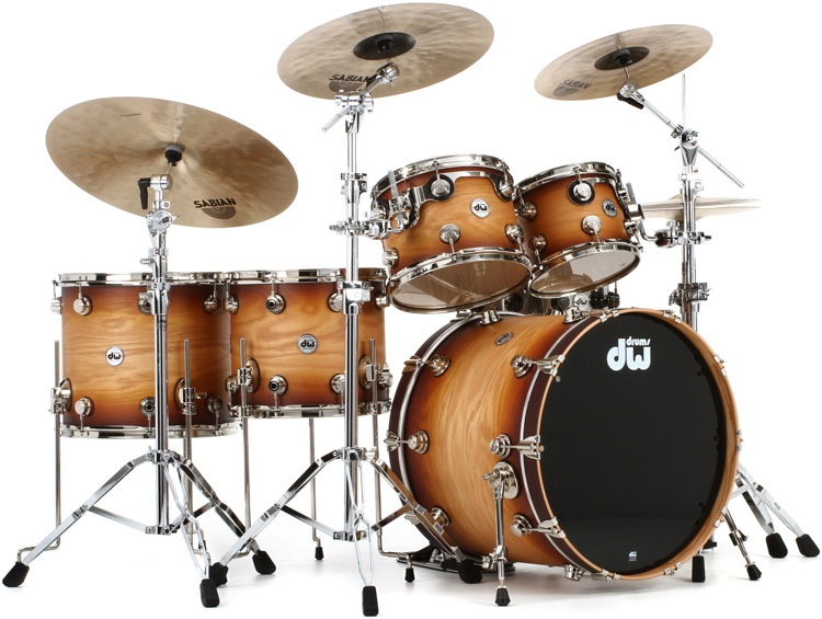 DW Collector\'s Series Pure Oak Shell Pack - 5-pc, Satin Natural to Burnt Toast Fade image 1