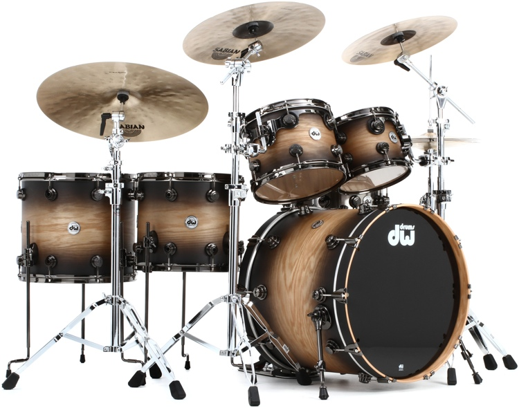 DW Collector\'s Series Pure Oak Shell Pack - 5-pc Satin Natural to Candy Black Burst Hard Satin Lacquer image 1