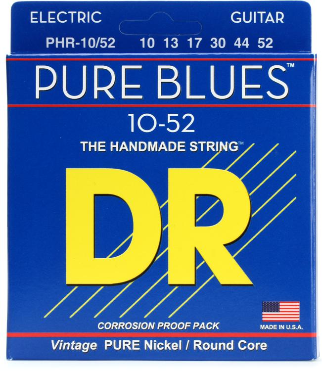 DR Strings PHR-10/52 Pure Blues Pure Nickel Big & Heavy Electic Guitar Strings image 1