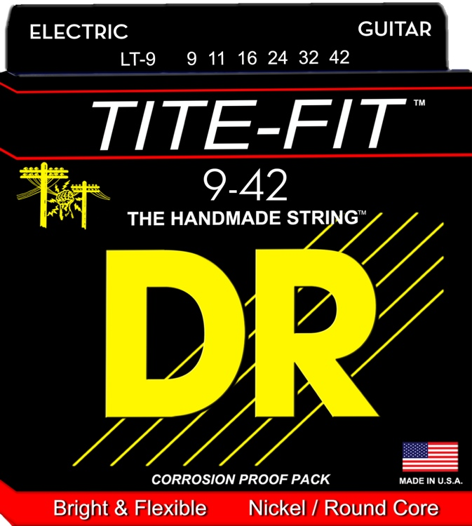 DR Strings LT-9 Tite-Fit Compression Wound Lite Electric Guitar Strings image 1