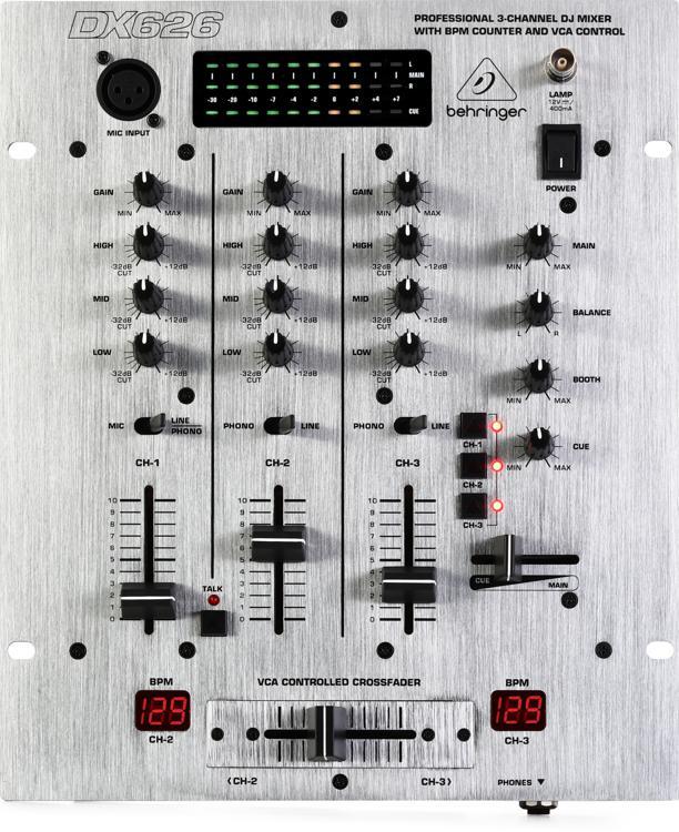 Behringer pro mixer dx626 3 channel dj mixer sweetwater for Media markt mesa de mezclas