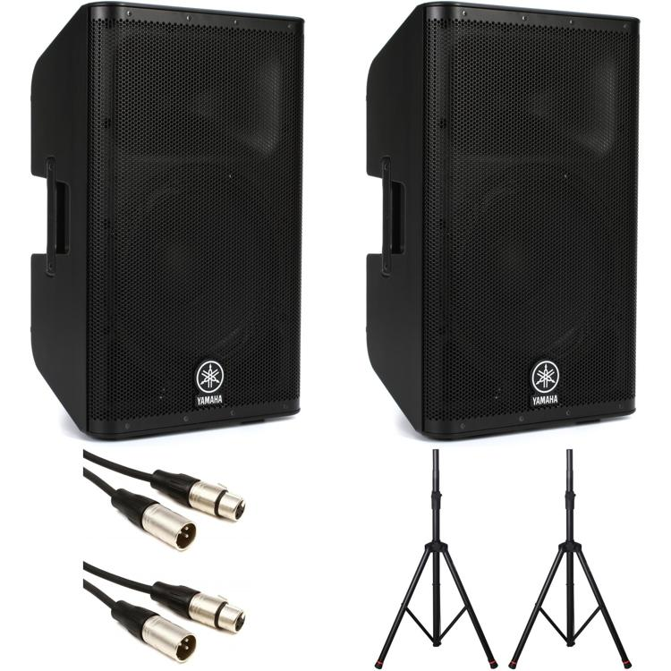 Yamaha DXR12 Speaker Pair with Stands, Power Strip and Cables image 1