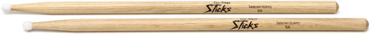 On-Stage Stands 5A Nylon Tip Hickory Drumsticks image 1