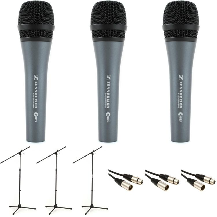 Sennheiser E835 Microphone 3-pack with Stands and Cables image 1