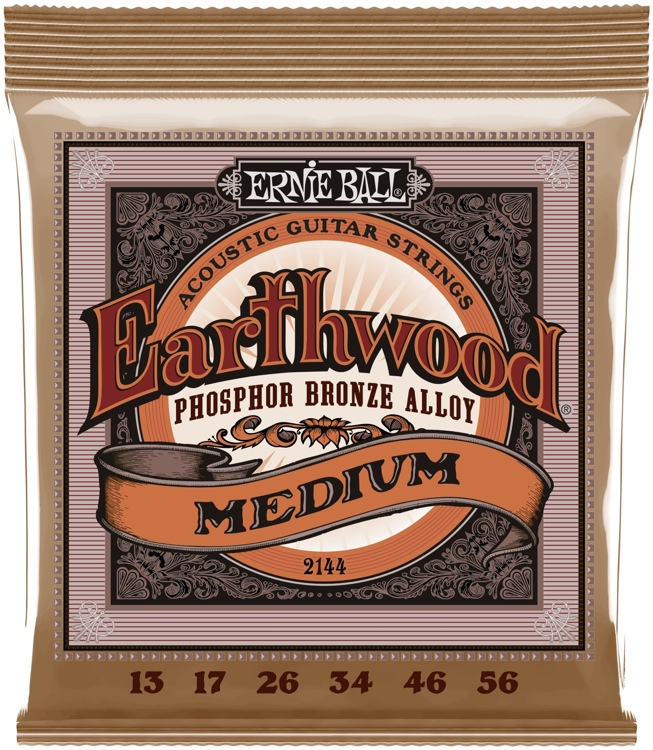 Ernie Ball PO2144 Earthwood .013-.056 Medium Phosphor Bronze Acoustic Strings image 1
