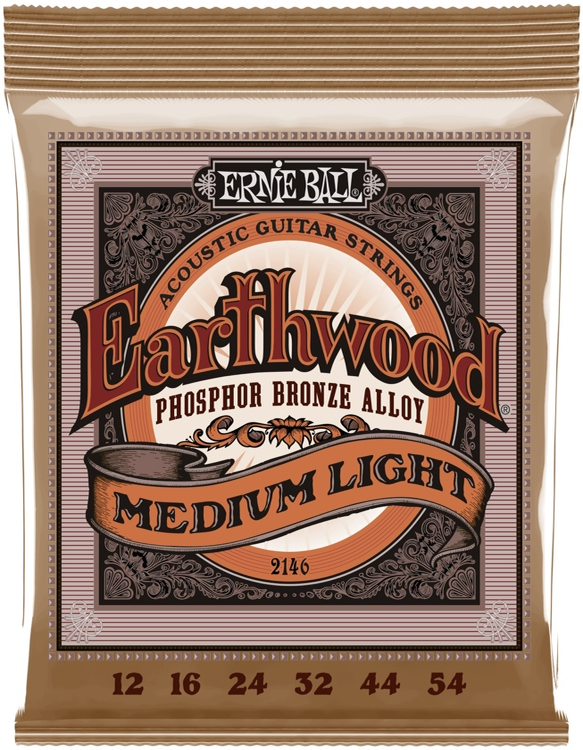 Ernie Ball PO2146 Earthwood .012-.054 Med Light Phosphor Bronze Acoustic Strings image 1