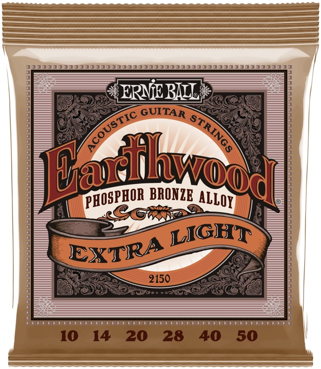Ernie Ball PO2150 Earthwood .010-.050 Extra Light Phosphor Bronze Acoustic Strings image 1