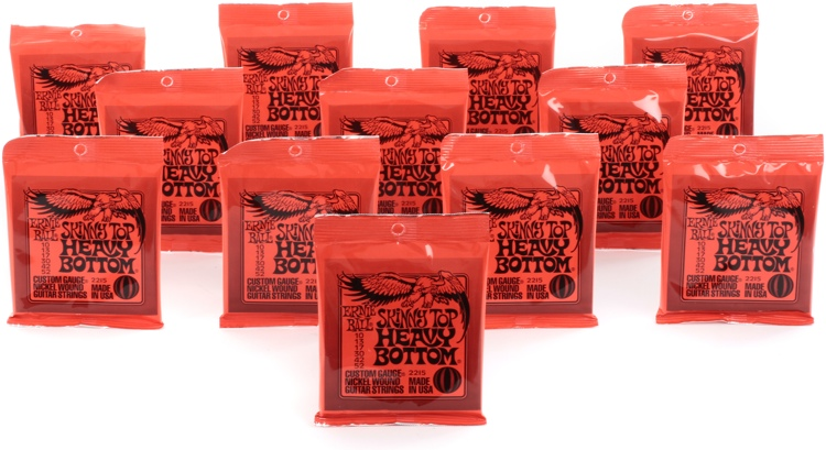 Ernie Ball PO2215 Skinny Top Heavy Bottom Nickel Wound Electric Strings 12-Pack image 1