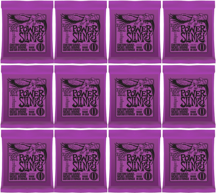 Ernie Ball 2220 Power Slinky Nickel Wound Electric Strings 12-Pack image 1