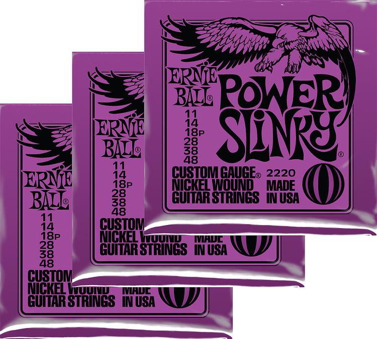 Ernie Ball 2220 Power Slinky Nickel Wound Electric Strings 3-Pack image 1