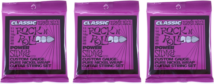 Ernie Ball 2250 Classic Power Slinky Pure Nickel Electric Strings 3-Pack image 1