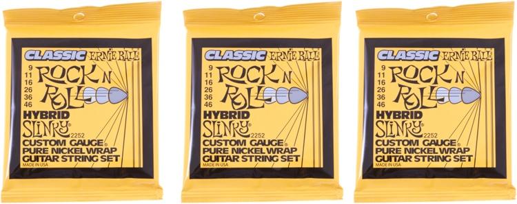 Ernie Ball 2252 Classic Hybrid Slinky Pure Nickel Electric Strings 3-Pack image 1