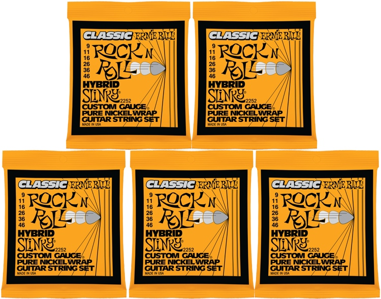 Ernie Ball 2252 Classic Hybrid Slinky Pure Nickel Electric Strings 5-Pack image 1