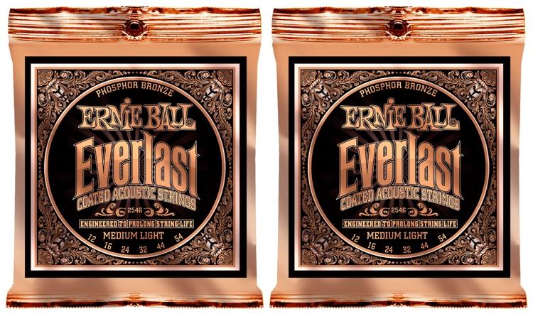 Ernie Ball 2546 Everlast Coated Phosphor Bronze Medium Light Acoustic Strings 2-Pack image 1