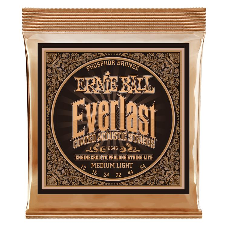 Ernie Ball 2546 Everlast Coated Phosphor Bronze Medium Light Acoustic Strings image 1