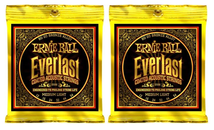 Ernie Ball 2556 Everlast Coated 80/20 Bronze Acoustic Strings 2-Pack image 1