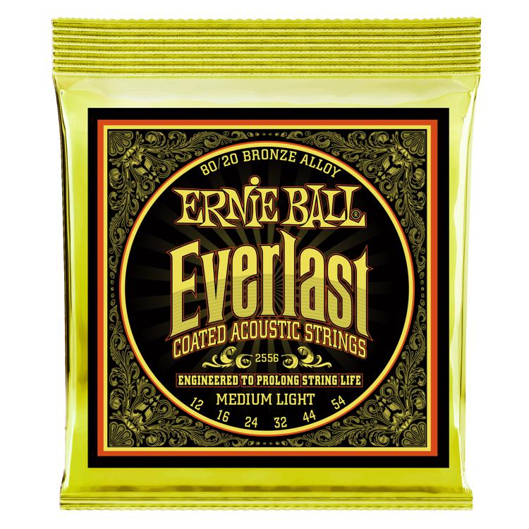 Ernie Ball 2556 Everlast Coated 80/20 Bronze Medium Light Acoustic Strings image 1