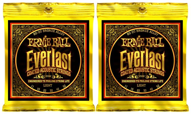 Ernie Ball 2558 Everlast Coated 80/20 Bronze Light Acoustic Strings 2-Pack image 1