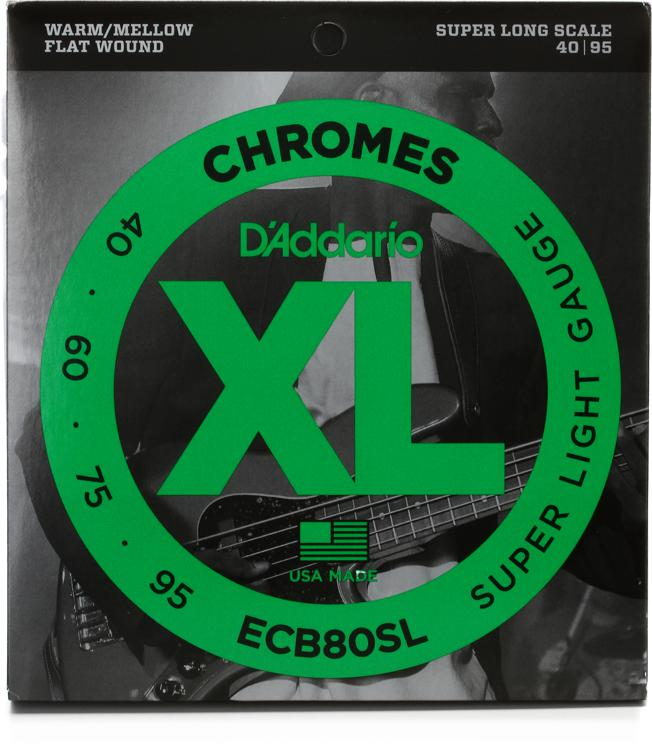 D\'Addario ECB80SL Chromes Flatwound Long Scale Super Light Bass Strings image 1