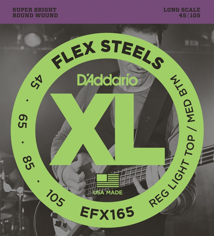 D\'Addario FlexSteels EFX165 - Regular Light Top/Medium Bottom Gauge image 1
