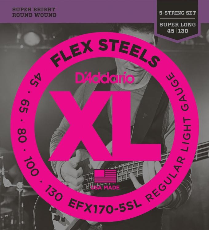 D\'Addario FlexSteels EFX170-5SL - Regular Light Gauge image 1
