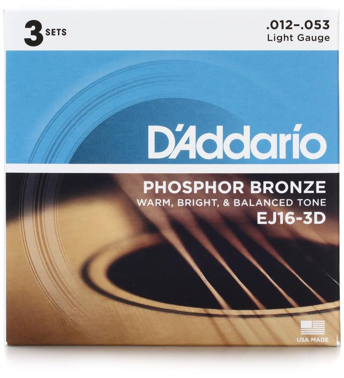 D\'Addario EJ16 Phosphor Bronze Light Acoustic Strings 3-Pack image 1