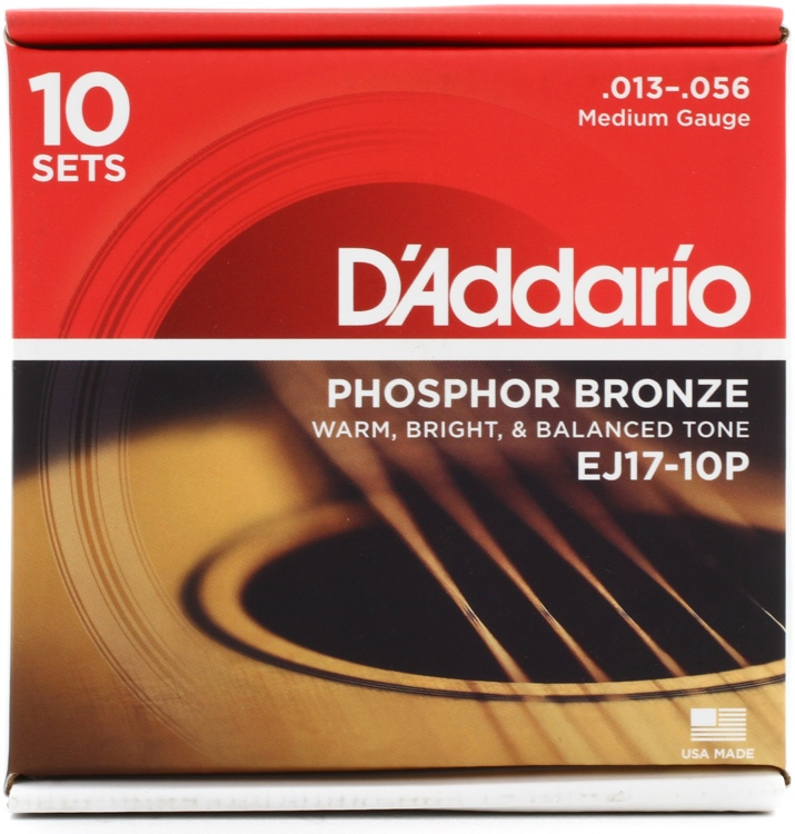 D\'Addario EJ17 Phosphor Bronze Medium Acoustic Strings 10-Pack image 1