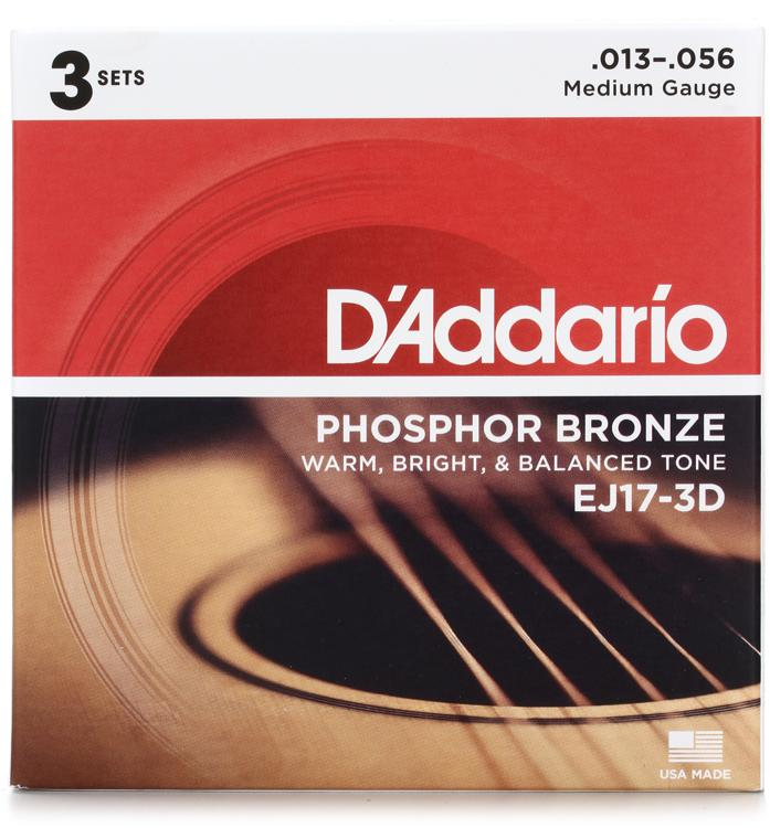 D\'Addario EJ17 Phosphor Bronze Medium Acoustic Strings 3-Pack image 1