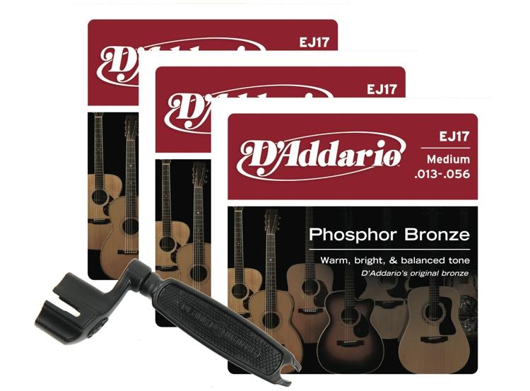 D\'Addario EJ17 Phosphor Bronze Acoustic Guitar Strings - .013-.056 Med 3-Pk w/Winder image 1
