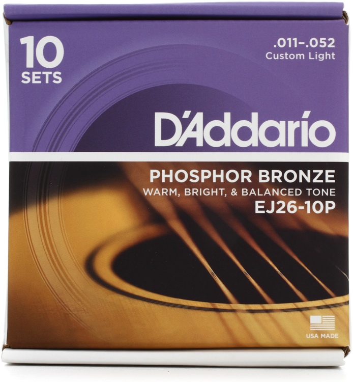 D\'Addario EJ26 Phosphor Bronze Custom Light Acoustic Strings 10-Pack image 1