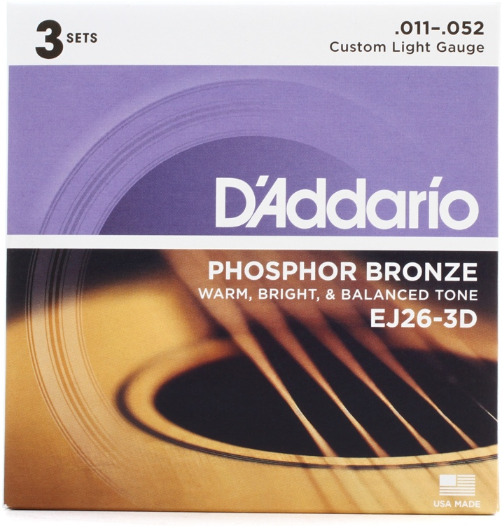 D\'Addario EJ26 Phosphor Bronze Custom Light Acoustic Strings 3-Pack image 1