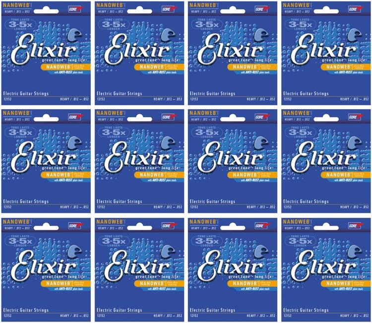 Elixir Strings 12152 Nanoweb Heavy Electric Guitar Strings 12-Pack image 1