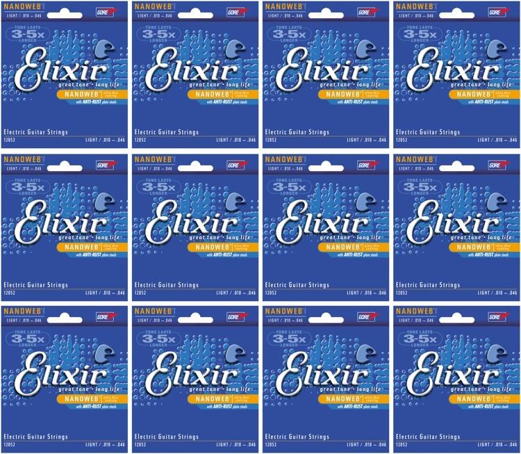 Elixir Strings 12052 Nanoweb Light Electric Guitar Strings 12-Pack image 1