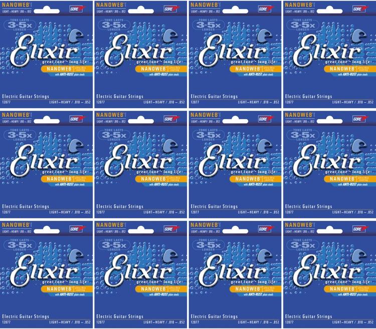 Elixir Strings 12077 Nanoweb Light Top Heavy Bottom Electric Guitar Strings 12-Pack image 1