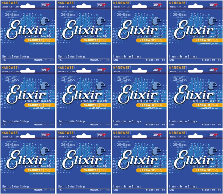 Elixir Strings 12102 Nanoweb Medium Electric Guitar Strings 12-Pack image 1