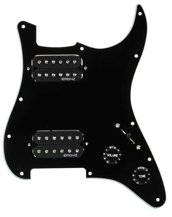 EMG ST12 Strat Style Pre-Wired Pickguard H/H Black image 1