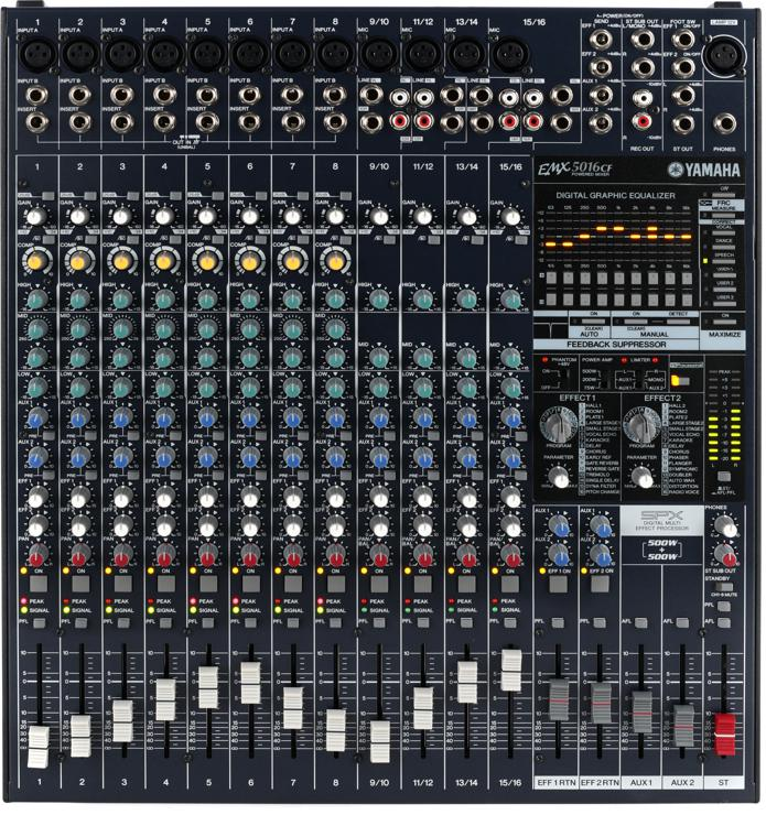 Yamaha Emx5016cf 16 Channel 1000w Powered Mixer Sweetwater